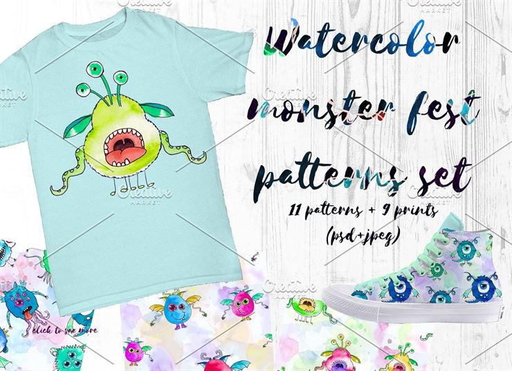 Watercolor Monsters Fest Patterns Web3Canvas