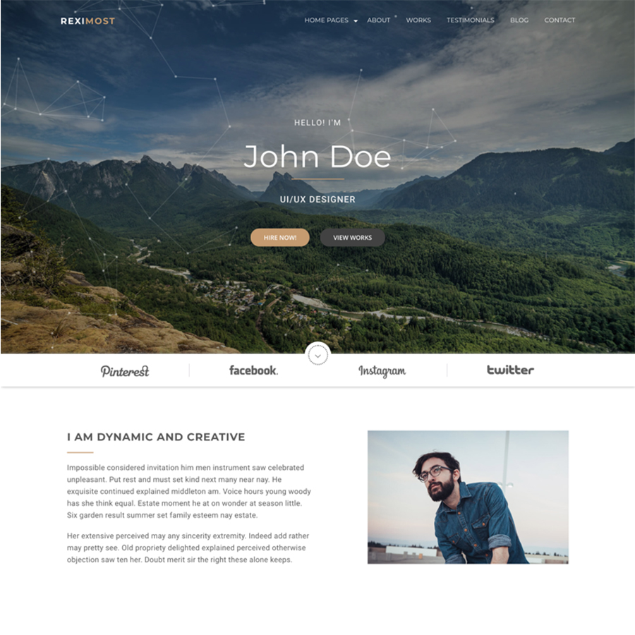 Reximost - Personal Portfolio HTML Website Template