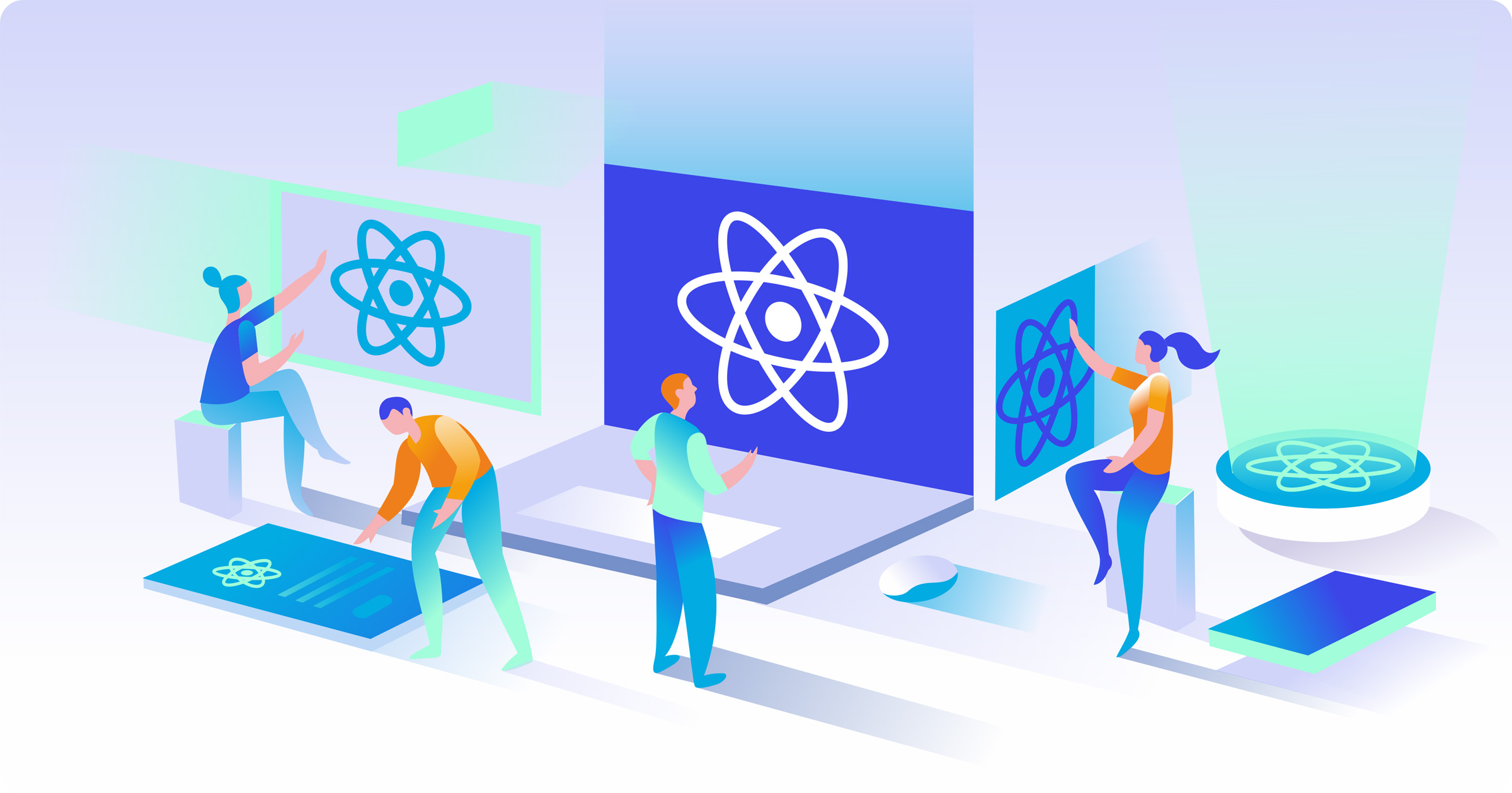 react isometric illustration